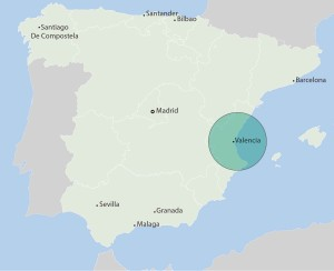 Map showing position of Valencia in Spain