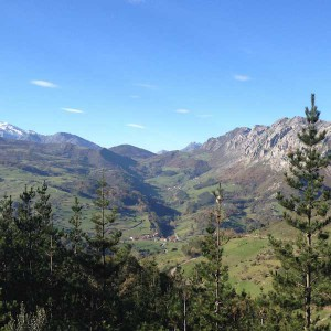 Village in Picos de Europa during bicycle tours green Spain