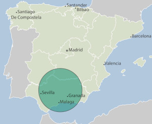 Map showing position of Andalucia in Spain