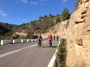 group in mouantains on custom bike holiday in spain